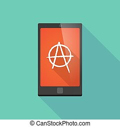 Long shadow phone icon with an anarchy sign