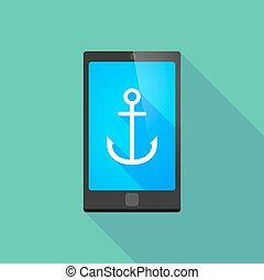 Long shadow phone icon with an anchor