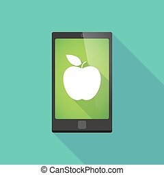 Long shadow phone icon with an apple