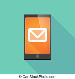 Long shadow phone icon with an envelope