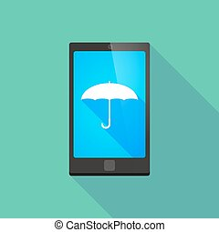 Long shadow phone icon with an umbrella