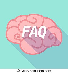 Long shadow pink brain icon with the text FAQ