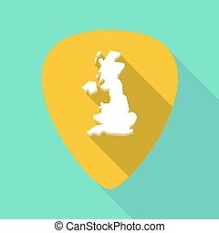 Long shadow plectrum with  a map of the UK