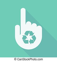 Long shadow pointing finger hand with a recycle sign