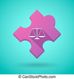 Long shadow puzzle icon with a justice weight scale sign