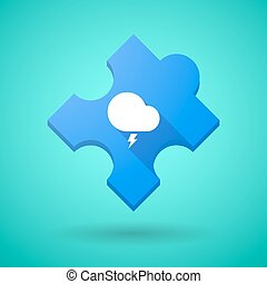 Long shadow puzzle icon with a stormy cloud