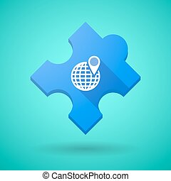 Long shadow puzzle icon with a world globe