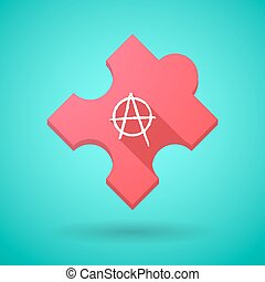 Long shadow puzzle icon with an anarchy sign