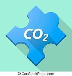 Long shadow puzzle piece with the text CO2