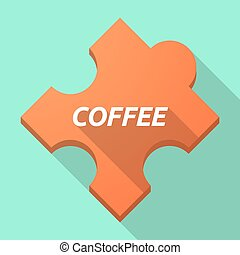 Long shadow puzzle piece with the text COFFEE