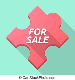 Long shadow puzzle piece with the text FOR SALE
