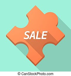 Long shadow puzzle piece with the text SALE