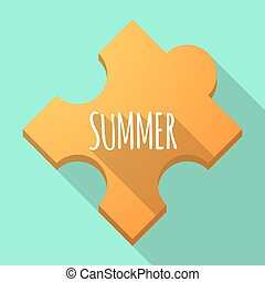 Long shadow puzzle piece with the text SUMMER