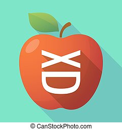 Long shadow red apple icon with a laughing text face