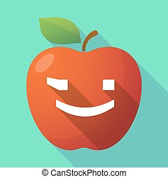 Long shadow red apple icon with a wink text face emoticon