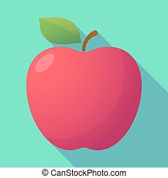 Long shadow red apple