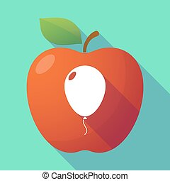 Long shadow red apple with a balloon