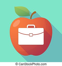 Long shadow red apple with a briefcase