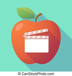 Long shadow red apple with a clapperboard
