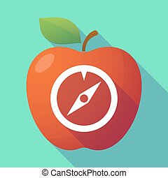 Long shadow red apple with a compass