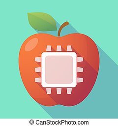 Long shadow red apple with a cpu