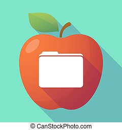 Long shadow red apple with a folder