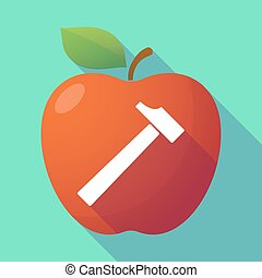 Long shadow red apple with a hammer