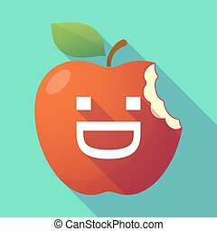 Long shadow red apple with a laughing text face
