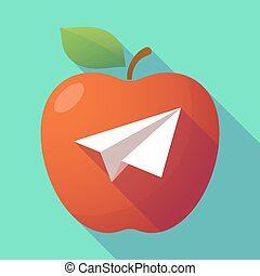 Long shadow red apple with a paper plane