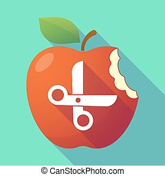Long shadow red apple with a scissors
