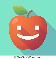 Long shadow red apple with a smile text face