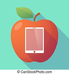Long shadow red apple with a tablet computer