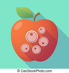 Long shadow red apple with oocytes