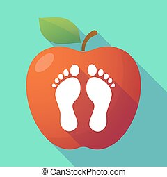 Long shadow red apple with two footprints