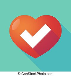 Long shadow red heart with a check mark