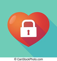 Long shadow red heart with a closed lock pad