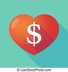 Long shadow red heart with a dollar sign
