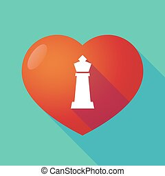 Long shadow red heart with a  king   chess figure