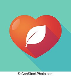 Long shadow red heart with  a leaf