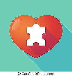 Long shadow red heart with  a puzzle piece