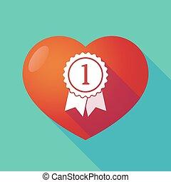 Long shadow red heart with a ribbon award