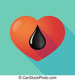 Long shadow red heart with  an oil drop icon
