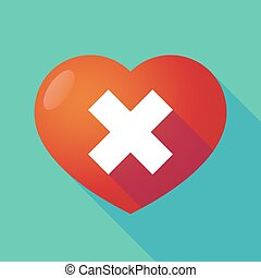 Long shadow red heart with an x sign