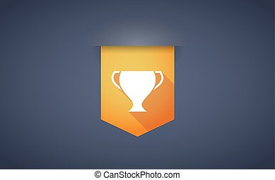 Long shadow ribbon icon with a cup