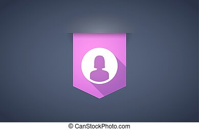 Long shadow ribbon icon with a female avatar