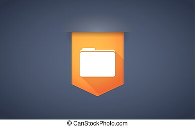 Long shadow ribbon icon with a folder