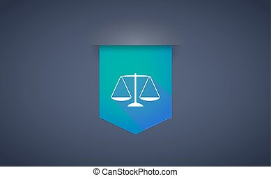 Long shadow ribbon icon with a justice weight scale sign