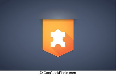 long shadow ribbon icon with a puzzle piece