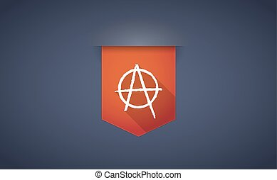Long shadow ribbon icon with an anarchy sign