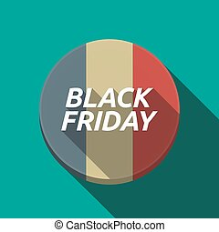 Long shadow round button with the text BLACK FRIDAY